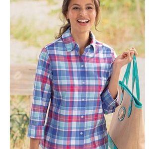Foxcroft Wrinkle Free Shaped Fit Plaid Shirt 12